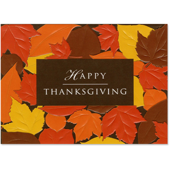 "Happy Thanksgiving Leaves Holiday Greeting Card (5""x7"")"