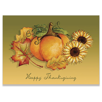 "Thanksgiving Pumpkin and Leaves Holiday Greeting Card (5""x7"")"