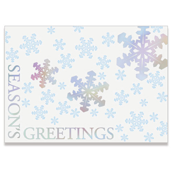 "Holographic Foil Snowflakes Holiday Greeting Card (5""x7"")"