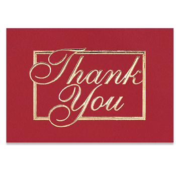 "Red & Gold Thank You Everyday Blank Note Card (3 1/2""x5"")"