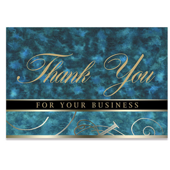 "Blue Thank You For Your Business Everyday Blank Note Card (3 1/2""x5"")"