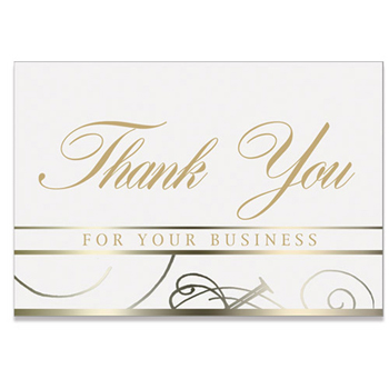 "White Thank You For Your Business Everyday Blank Note Card (3 1/2""x5"")"
