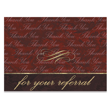 "Red Thank You For Your Referral Everyday Blank Note Card (3 1/2""x5"")"