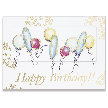 "White Happy Birthday Balloons Everyday Greeting Card (5""x7"")"