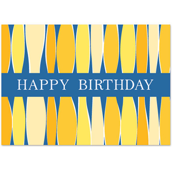 "Blue Happy Birthday w/ Yellow Candles Everyday Greeting Card (5""x7"")"